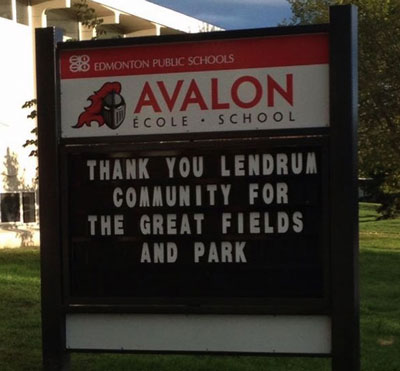 Avalon Junior High thanks Lendrum Community League for great fields and park 2015